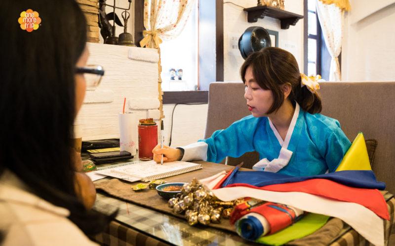 Korean fortune teller writing